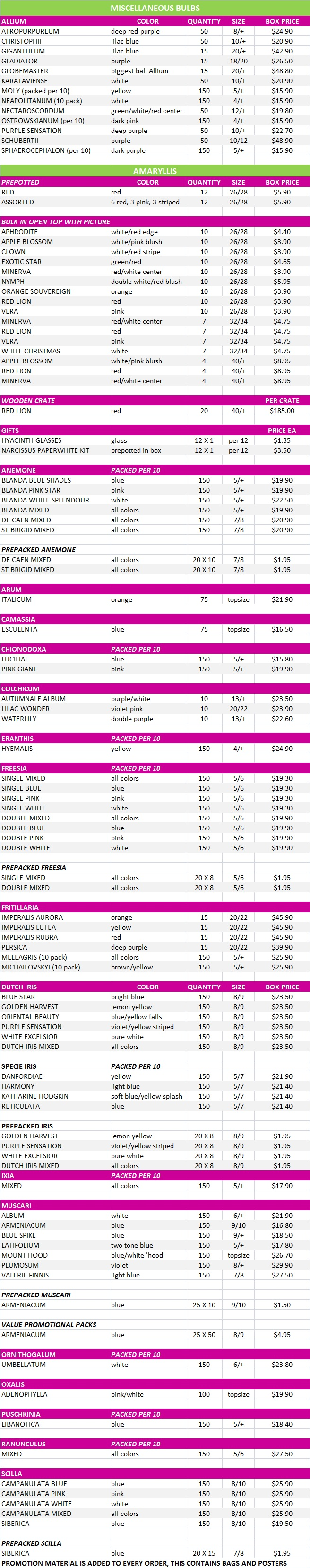 More Bulb Price List, Fall 2015